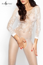 Combinaison Romantic Passion - Combinaison sexy � manches longues en r�sille brod�e, un �crin qui offre l'essentiel de votre beaut�.